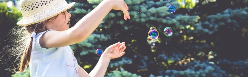 Soap bubbles as one of great summer ideas for kids